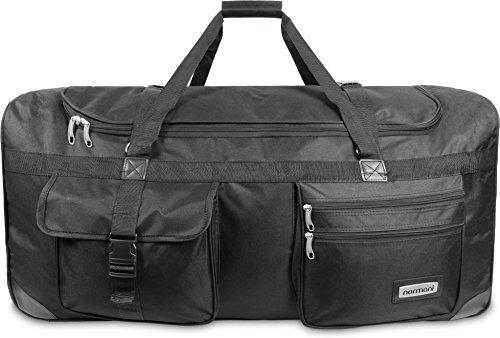 normani XXL Reisetasche mit Trolleyfunktion mit Rollen und Verstärkungsstreben Farbe Schwarz / 150 Liter