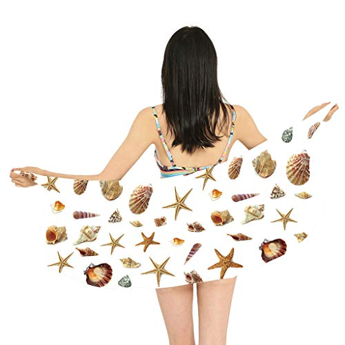 TUDUZ Damen Strandkleid Bikini Cover up 2019 Neue Sommer Bikini Kleid Pareos,Strandtuch Sarong Tuch Chiffon Pareo Bikini Cover Up Wickelrock Multifunktions Tücher für Urlaub(One Size,Weiß)