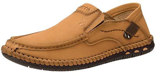 CAMEL CROWN Leicht Mokassins Herren Slipper Leder Slip On Loafer Weich Flache Hausschuhe Fahrschuhe Sommer Schuhe für Herren Fahren Freizeit