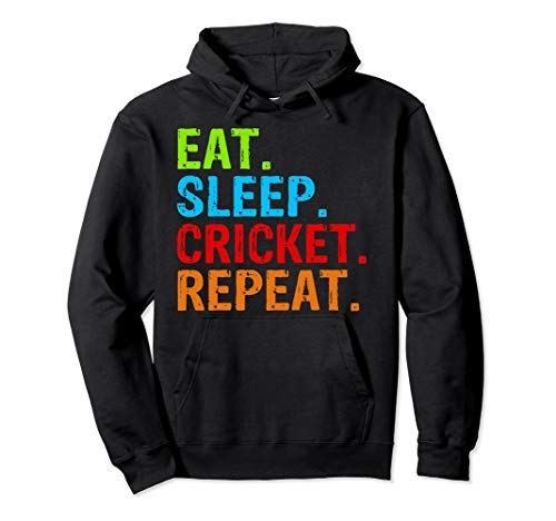 Eat Sleep Cricket Repeat Gift Sports Pullover Hoodie