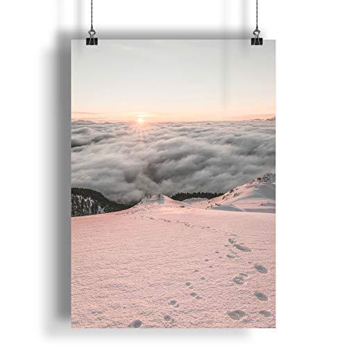 INNOGLEN Fußspuren im Schnee bei Sonnenuntergang A0 A1 A2 A3 A4 Satin Foto Plakat a1826h
