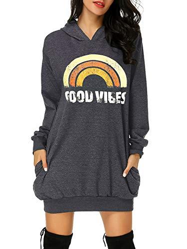 Auxo Damen Hoodie Kleid Pullover Langarm Sweatshirts Kapuzenpullover Tops Regenbogen Herbst Kleid Dunkelgrau Medium