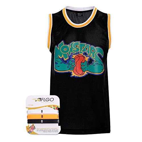 AFLGO Monstars #0 Space Basketball Movie Jersey Genäht Kostüm S-XXL 90er Jahre Kostüm Hip Hop Party Kleidung - Schwarz - XXL