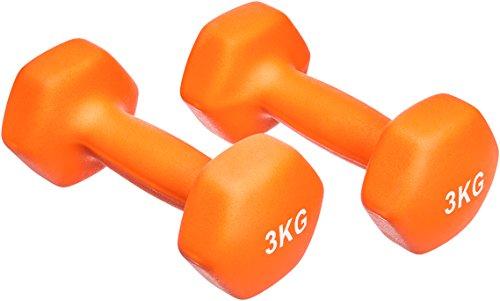 AmazonBasics Neopren Hanteln Gewichte, Orange, (2er-Set), 2 x 3Kg