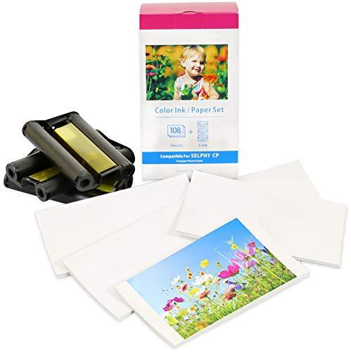 Druckerkartusche und Papier kompatibel zu KP-108IN für Canon Selphy CP1300 CP1200 CP1000 CP910 CP820 CP810 CP800 CP790 CP780 Fotodrucker   3 Farbkartuschen   108 Blatt   Postkarten-Größe: 100 x 148mm