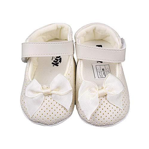 bibaby Baby Mädchen Schuhe Festlich Erstlingsschuhe Balerinas Taufschuhe Babyschuhe (17, Creme)