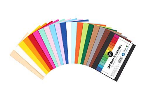 perfect ideaz 100 Blatt DIN-A6 Foto-Karton bunt, Bastel-Papier, Bogen durchgefärbt, 20 verschiedene Farben, 300g, Ton-Zeichen-Pappe zum Basteln, buntes Blätter-Set farbig, DIY-Bedarf für Post-Karten