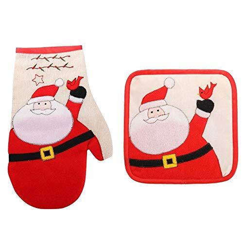 SPNEC Ofenhandschuh Weihnachtshandschuh Topflappen Backgeschirrkissen Hitzebeständige Küche Kochen Mikrowelle Ofenhandschuh Isoliertes Handschuh Küchengeschirr (Color : Style 1)