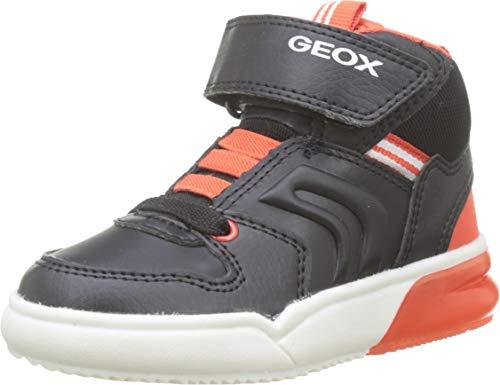 Geox Jungen J GRAYJAY Boy C Hohe Sneaker, Schwarz (Black/Dk Orange C9279), 24 EU