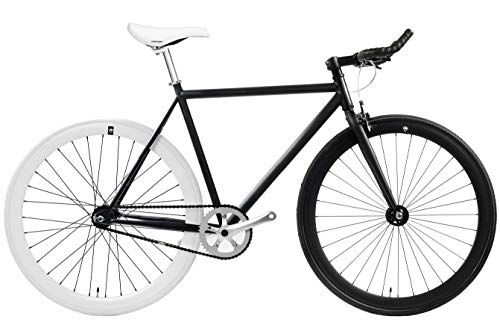 FabricBike - Original Collection, Hi-Ten Stahl Schwarz, Fahrrad Fixed Gear, Single Speed, Urban Commuter, 3 Farben und 3 Größen, 10 Kg (Matte Black & White, M-53cm)