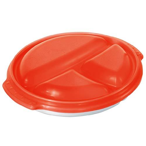 Rotho Micro Clever Teller mit 3 Unterteilungen und Deckel geeignet für die Mikrowelle, Kunststoff (BPA-frei), weiss/rot, (25,5 x 23,5 x 5 cm)