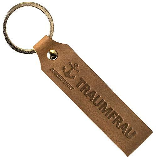 ANKERPUNKT Schlüsselanhänger Leder mit Gravur Traumfrau - Geschenke für Frauen Freundin - Geschenkidee zum Geburtstag Jahrestag - Made in Germany (Dunkelbraun)