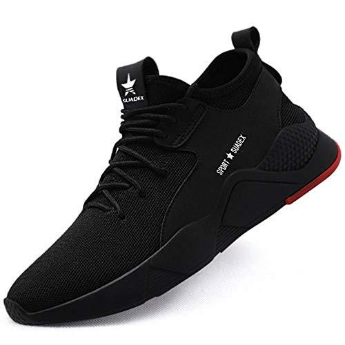 SUADEEX  Sicherheitsschuhe Herren Damen Arbeitsschuhe S3 Leicht Sportlich Atmungsaktiv Schutzschuhe Stahlkappe Sneaker, 42 EU, Schwarz