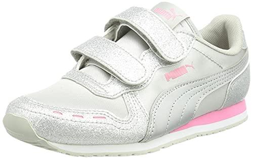 Puma Mädchen Cabana Racer Glitz V PS Sneaker, Silver Silver-Sachet Pink, 31 EU