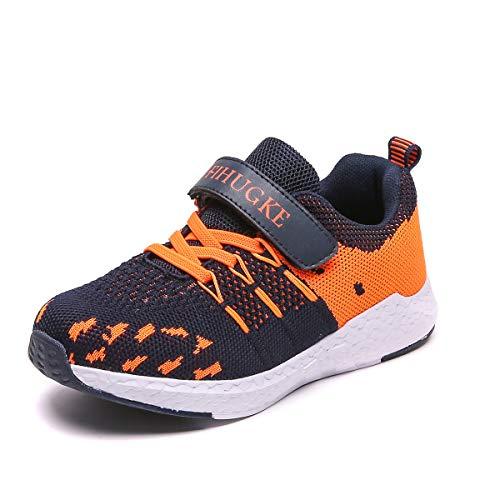 FIHUGKE Kinder Schuhe Sportschuhe Ultraleicht Atmungsaktiv Turnschuhe Klettverschluss Low-Top Sneakers Laufen Schuhe Laufschuhe für Mädchen Jungen 28-37, Blau, 32 EU