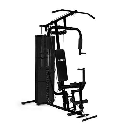 Klarfit Ultimate Gym 3000 Kraftstation - Fitnessstation, Trainingsstation, 30 unterschiedliche Übungen, Ganzkörpertraining, leichtläufige Seilzüge, Beinstrecker & -beuger, schwarz