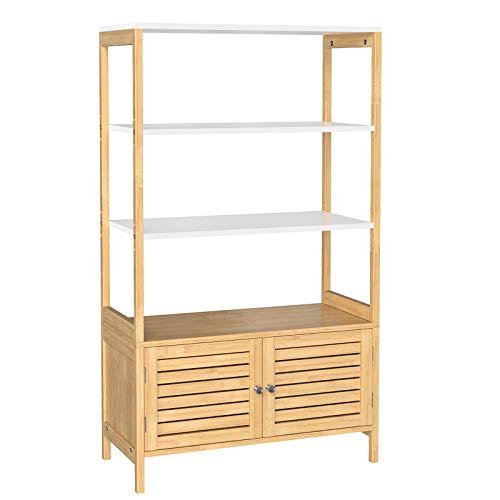 SONGMICS Badezimmerschrank, Aufbewahrungsschrank mit 3 offenen Fächern und 2 Türen, aus Bambus, 70 x 30 x 120 cm, naturfarben-weiß BCB010N01