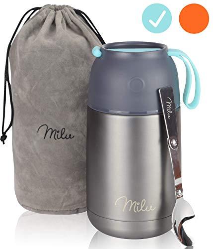 Milu® Thermobehälter Lunchbox 450 & 650ml | Edelstahl Isolierbehälter Gefäß für warme Speißen, Essen, Babynahrung, Suppe, Obst | Behälter für Baby | Speisegefäß | Thermogefäß (Grau/Blau, 650ml)