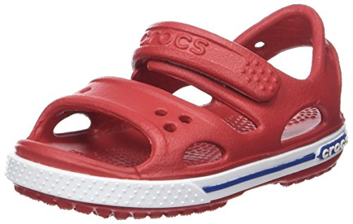 Crocs Crocband Ii Sandal Ps K, Unisex-Kinder Sandalen, Rot (Pepper/blue Jean), 32-33 EU (1 UK)