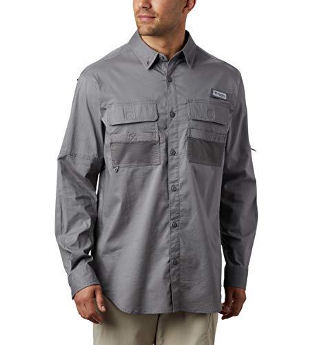 Columbia PFG Half Moon Langarmshirt für Herren, atmungsaktiv, lockere Passform, halber Mond, langärmelig, Herren, 1831673, City Grey, LT