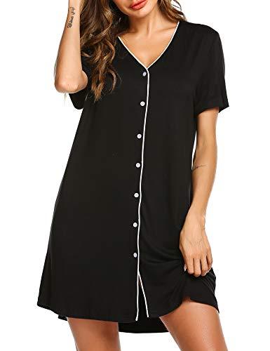 ADOME Nachthemd Schlafanzugoberteil Kurzarm Nachtkleid Sommer weich Schwangere Frauen Pyjama Schlafkleid Knopfleiste Nachtwäsche Oberteil schwarz