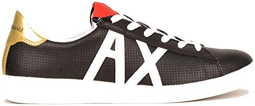 Armani Exchange Herren AX Box Sole Sneakers Sneaker, Schwarz (Black+White Logo 00002), 43 EU
