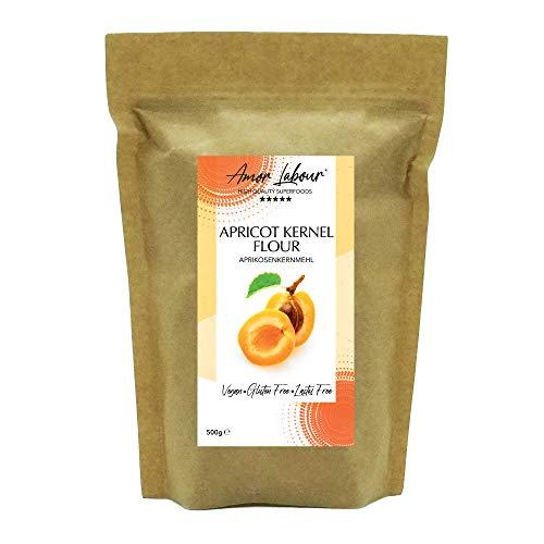 Amor Labour ® Aprikosenkernmehl 500g - 100% Natural Apricot Kernel Flour - Superfood with Vitamin B17 - Vegan Gluten Free - High in Protein and Fibre - Glutenfrei