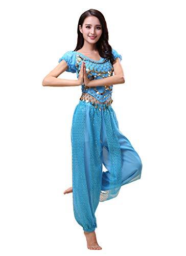 Grouptap Bollywood Indian Bharatanatyam Bauchtanz hellblau 2-teiliges Kostüm-Outfit für Damen Mädchen Erwachsene Tänzerin (150-170cm, 30-60kg) (Hellblau)