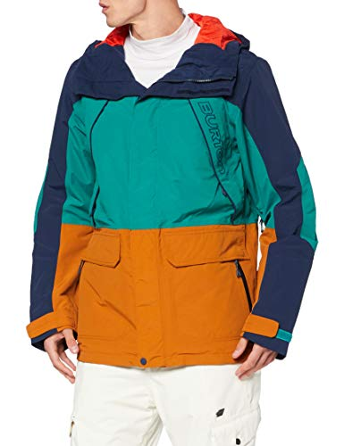 Burton Herren Snowboard Jacke Breach, Dress Blue/Antique Green/True Penny, L, 10180107401