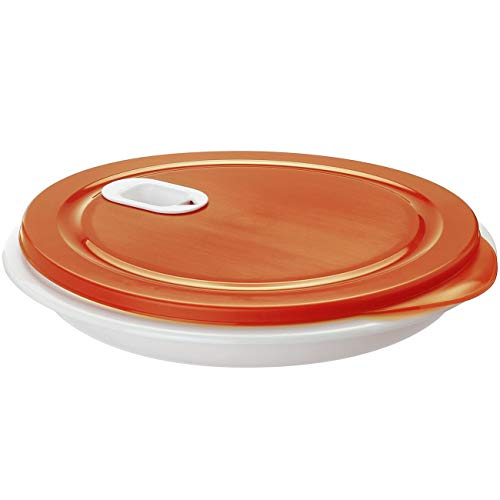Rotho Clever Mikrowellenteller mit Deckel und Unterteilung, Kunststoff (BPA-frei), weiß/rot, Durchmesser 26 cm, Höhe 4,8 cm