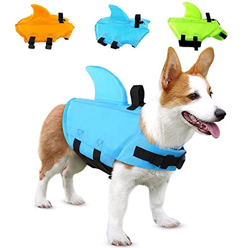 SUNFURA Haustier-Schwimmweste, Hunde-Badeanzug mit Haiflosse, Schwimmhilfe mit hervorragendem Auftrieb und Rettungsgriff für kleine, mittelgroße und große Hunde (Blau, XS)