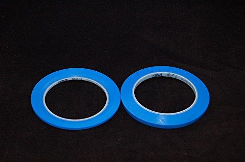 3M 471 Vinyl Klebeband, Abdeckband, Dekorationstreifen, Rot, Gelb, Blau, 2-10mm x 33 Meter Variationen (2mm+6mm, Blau)