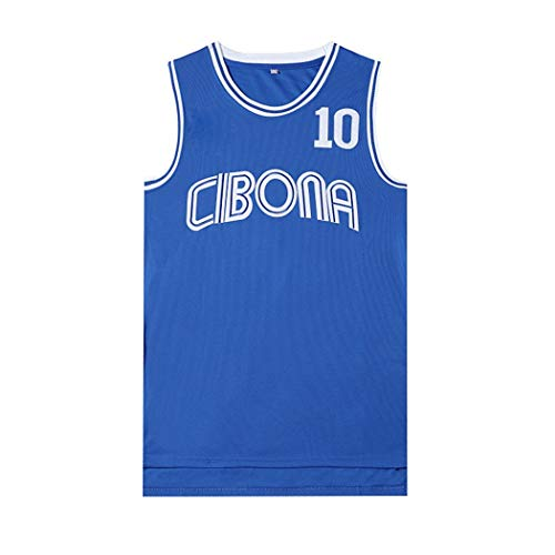 Herren-Basketball-Jersey Petrovic Cibona 10#, Film Version von Basketball-Uniformen, Unisex Ärmel T-Shirt, NBA Basketball Sportswear NCAA Swingman (Color : Blue, Size : XXL)