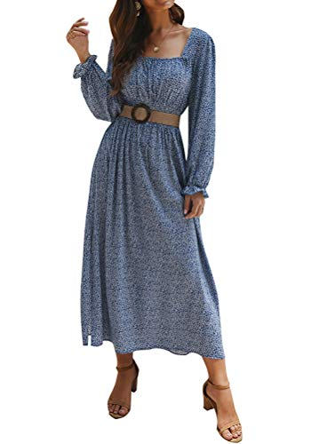 ORANDESIGNE Damen Langarm Casual Loose Quadratischer Kragen Boho Kleider Elegant Böhmen Lang Kleid Blumen Vintage Party Maxikleid Herbst Winter Cocktail Kleid E Blau 42