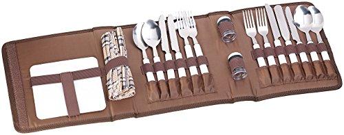 PEARL Besteckset: 22-tlg. Picknick-Besteck-Set für 4 Personen, mit Salz-/Pfefferstreuer (Camping Besteck Set Tasche)