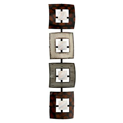 Boltze Wand Objekt Eisen Relief Farbmix Wohn Zimmer Dekoration Quadrate 78 cm 4535600