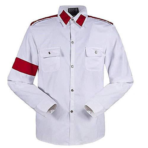 Michael Jackson Herren Kinder Shirt MJ Professional Cosplay Michael Jackson Kostüm CTE Style Shirt für MJ Fans Weiß Schwarz ROT Farben Hemd (L, Weiß)