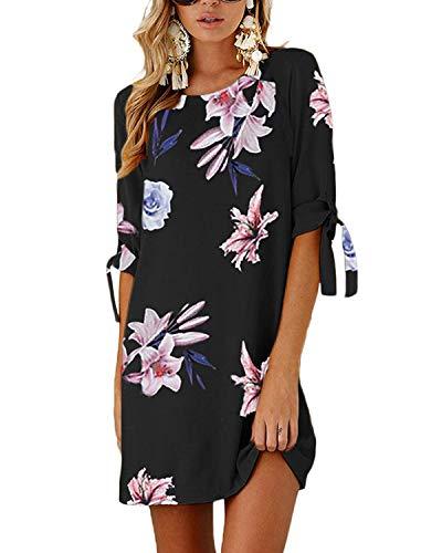 YOINS Sommerkleid Damen Kurz Tshirt Kleid Rundhals Kurzarm Minikleid Kleider Langes Shirt Lose Tunika mit Bowknot Ärmeln Dunkelblau-01 EU46(Kleiner als Reguläre Größe)