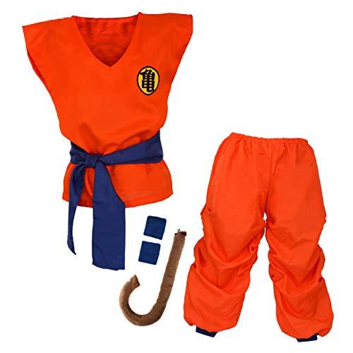 papapanda Kinder Kostüm für Son Goku Drachen Ball Trainingsanzug für Kinder und Jugendliche (XL)