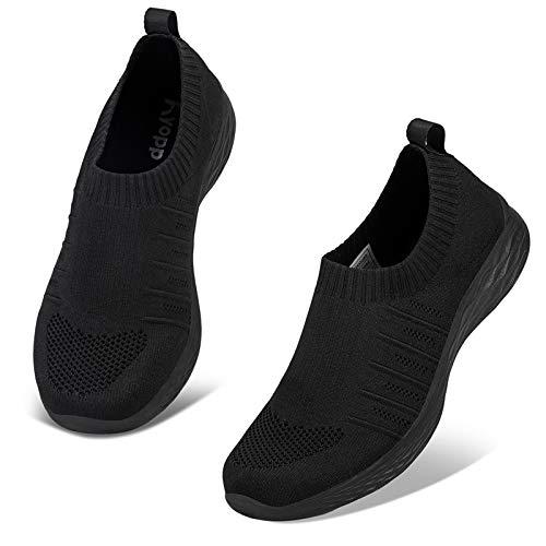 Kyopp Damen Turnschuhe Atmungsaktiv Leichte Sportschuhe Sneaker für Fitness Gym Outdoor Walkingschuhe Freizeitschuhe Laufschuhe(2 Schwarz 42EU)