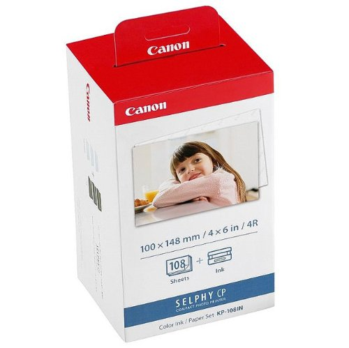 Canon Fotopapier für Canon Selphy CP 740, 108 Blatt A6 Photo, Color Ink Paper Set, 100x148 mm, CP740