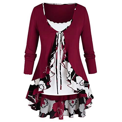 VEMOW Sommer Herbst Elegant Damen Oberteil Langarm O Neck Printed Flared Floral Beiläufig Täglich Geschäft Trainieren Tops Tunika T-Shirt Bluse Pulli(A2-Rot, 52 DE / 5XL CN)