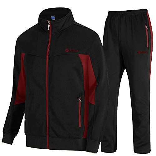 donhobo Herren Jogginganzug Trainingsanzug Sportanzug Fußball Sporthose Hoodie Hose für Gym Warm Tracksuit (02Schwarz rot, XL)