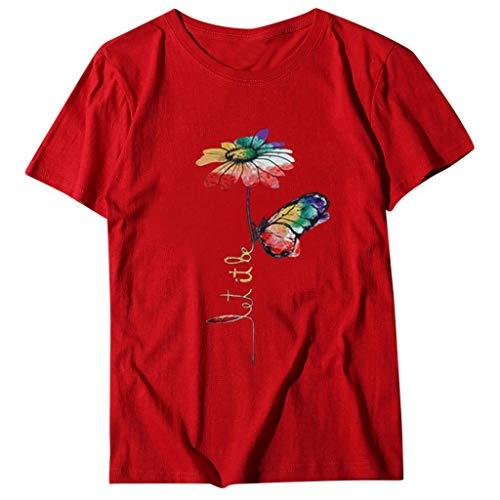 FNKDOR Tshirt Damen Sommer Schmetterling und Blumen Drucken Damen Oberteile Rot XL