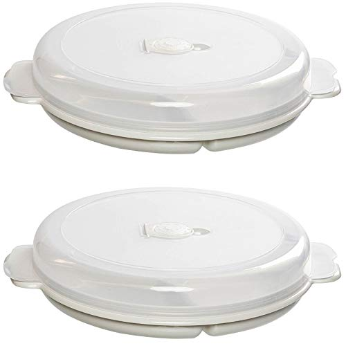 2er Set Mikrowellen Teller Vorrats Dose Aufbewahrung Geschirr zum erhitzen, einfrieren mit 3 Fach Aufteilung Deckel mit Belüftung und Zeitanzeiger BPA frei sehr stabil und bruchsicher