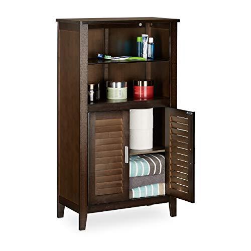 Relaxdays Badezimmerschrank dunkelbraun LAMELL, Badschrank aus Bambus, Telefonschrank, HBT: 92 x 50 x 25,5 cm