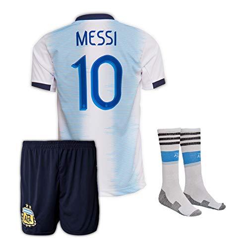 Argentinien Messi Trikot Set #10 2019/20 Heim Messi Kinder Fussball Trikot Mit Shorts Und Socken (9-10 Jahre)