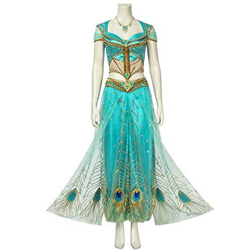 WSJDE 2019 indische Film Aladdin Kostüm Prinzessin Jasmin Cosplay Kostüm Requisiten Erwachsene Frauen Halloween Karneval Outfit Nach Maß S Full Set