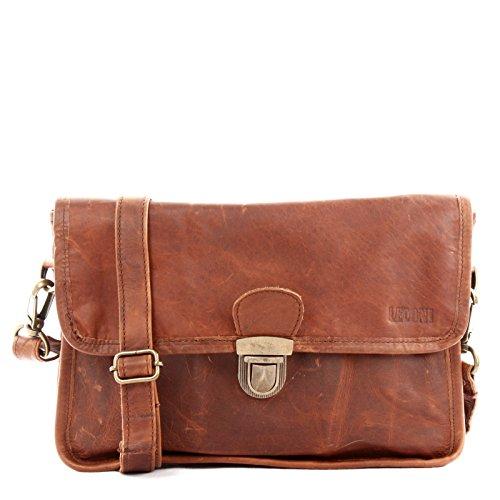 LECONI Schultertasche Leder Umhängetasche Damentasche Handtasche für Damen – Frauen Ledertasche echtes Rindsleder im Vintage-Look 30x21x9cm braun LE3044-wax