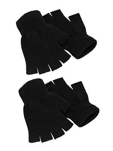2 Paare Halbfinger Handschuhe Unisex Warme Winter Fingerlose Handschuhe für Männer Frauen (Schwarz)